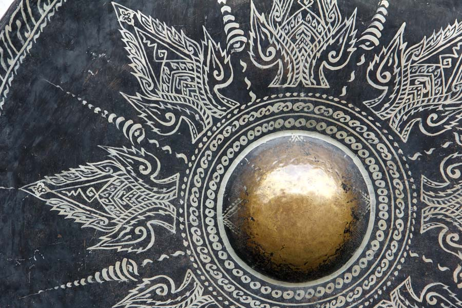 detail of gold black Gong thai backgroud